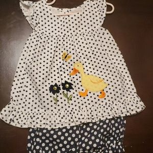 Polka dotted Duck Outfit with shorts  size 24m